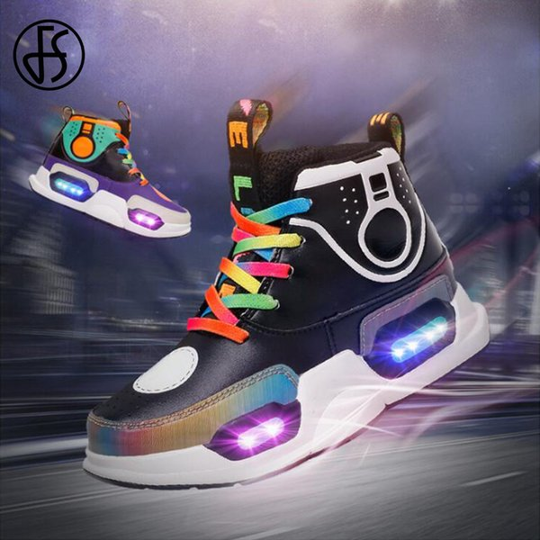 FS USB Charging LED Super Light Lamp Up Shoes Kids' Sneakers Children Sport Stitching Leatcher Basketball Running Shoes Fr Boys