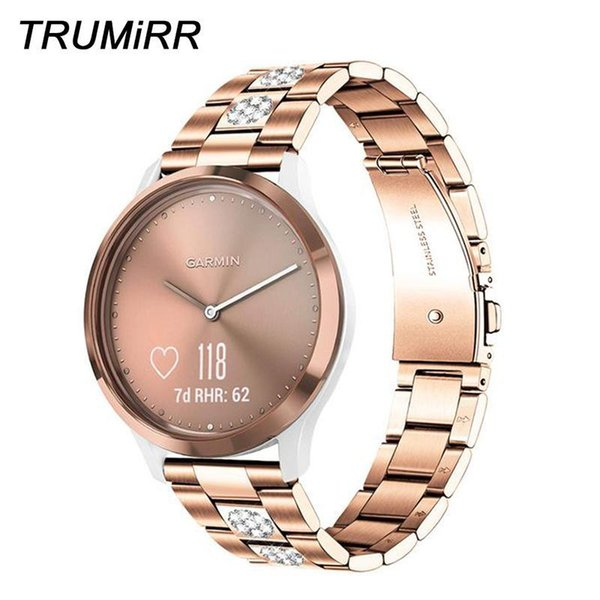 Diamante dell'acciaio inossidabile cinturino per Garmin Vivomove HR 3 3S Lux Style VivoActive 4S 40mm 3 Venu cinturino cinturino