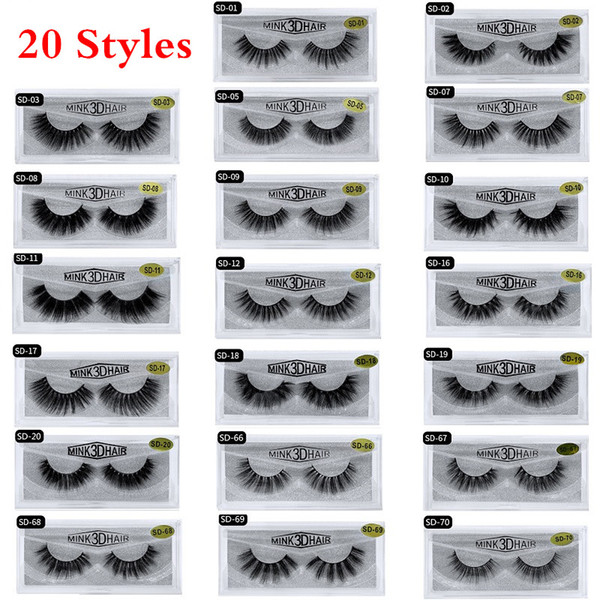 best selling 20 Styles 3D Mink Eyelashes Eye makeup Mink False lashes Soft Natural Thick Fake Eyelashes 3D Eye Lashes Extension Beauty Tools