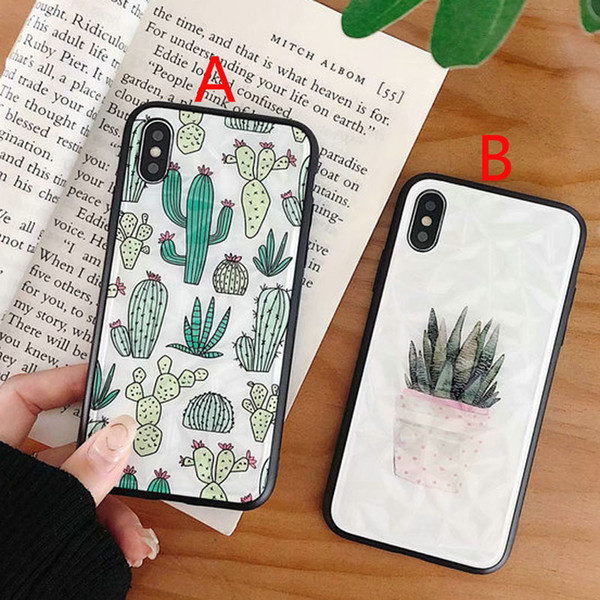 Cubierta de la caja del teléfono móvil del cactus de la planta para el iphone Xs max Xr X 7 7plus 8 8plus 6 6plus TPU + PC contraportada dura