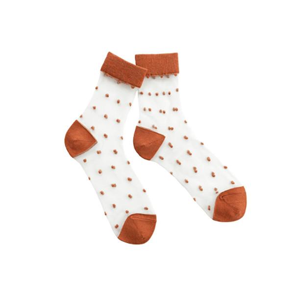 Stockings Female Summer New Korean Crystal Silk Dot Cotton Cotton with Cotton Edge Glass Silk Ladies Tube Socks