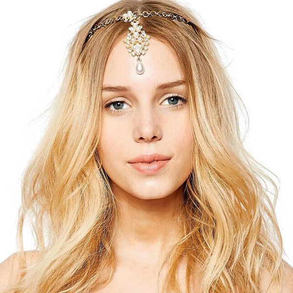 pearl headpiece Fashion Gold Charm Forehead Wedding Bridal Crystal Pearl Headpiece With Hairpins Indian Hair Accessories Fine Head jewelry