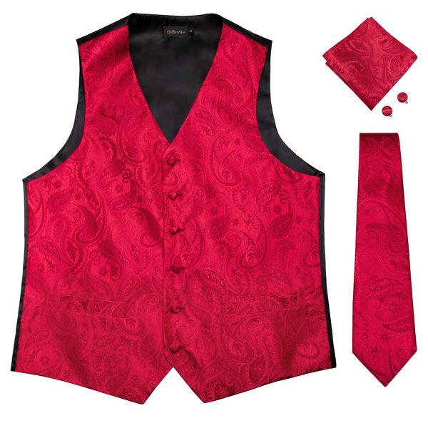 Hi-Tie Men's Classic Red Flaoral Jacquard Silk Waistcoat Vest Handkerchief Cufflinks Party Wedding Tie Vest Suit Set MJTZ-0102