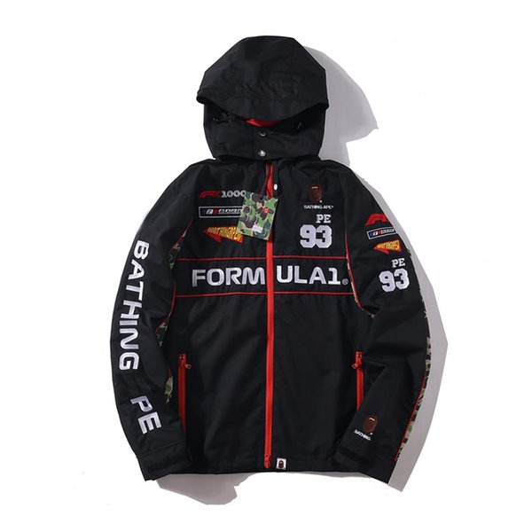 2019 chaquetas de bombardero de lujo para hombre street fashion APE x F1 nombre conjunto del coche Biker Jacket bordado letras abrigo de invierno resistente a la intemperie
