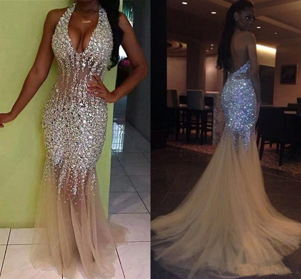2019 Newest Sexy Bling Mermaid Prom Dresses Deep V Neck Halter Crystal Beaded Tulle See Through Backless Nude Evening Gowns Pageant Dresses