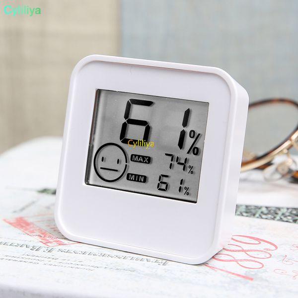 Termômetro digital Higrômetro Display LCD Sensor de temperatura interna Medidor de umidade Medidor de Umidade Verde Branco DC205 na caixa de varejo