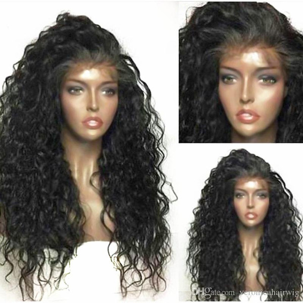 High Quality 1b# 27# 613# Black Brown Loose Curly Cheap Wigs Gluelss Synthetic Lace Front Wigs With Baby Hair 180% Density Heat Resistant