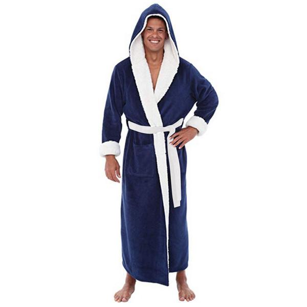 Men's Winter Plush Lengthened Shawl Bathrobe Home Clothes Long Sleeved Robe Coat men robe albornoz hombre Free Shipping