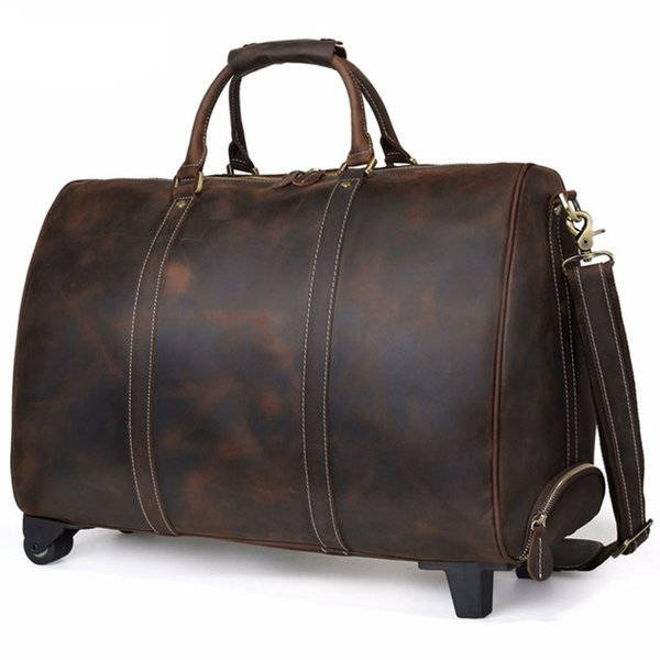 Luxury Italian Handmade Leather Travel Duffle On Wheels Men Vintage Large Capacity Rolling Luggage Tote Bags Dark Brown