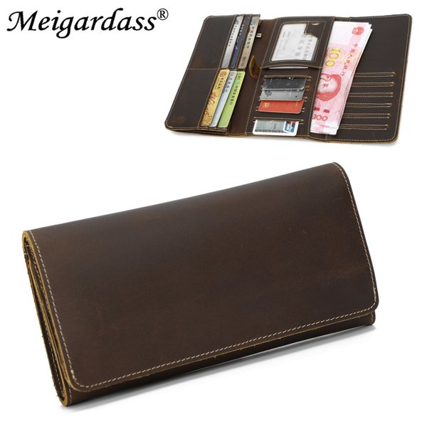 2019 Vintage Men Long Wallet Crazy Horse Genuine Leather Card Wallets Coin Purse Open Hasp Women Cell Phone Pouch Money Bags