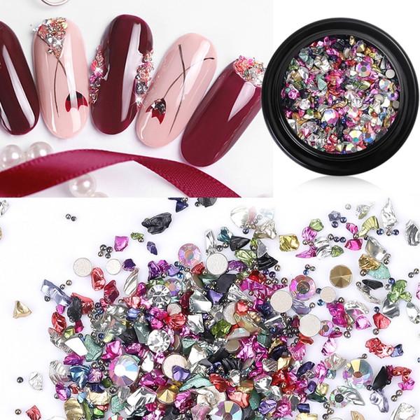 Rhinestones de uñas multicolores Decoraciones artísticas de uñas 3D Joyas de diamantes de imitación Mini uñas de diamantes de imitación