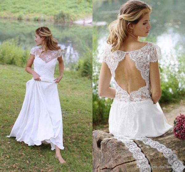 Sheer Bateau Neck Simple Chiffon Beach Wedding Dresses Cap Sleeves Romantic Flowy Chiffon Country Bridal Dresses with Keyhole Back