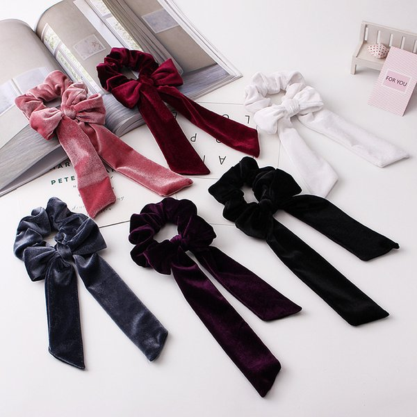 top popular 30 various colors can accept custom-made top selling women creative bow hair ties elastic hair ties wholesale 2021