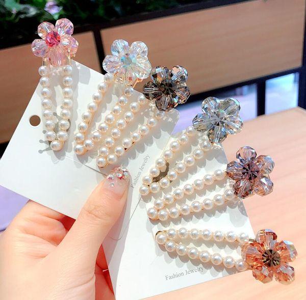 6Pcs New Crystal Flower Pearls Wedding Hair Accessories Big Crystal Flowers Pearl Hair Clip Pearl Crtstal Silvery Women Hairpin Gifts