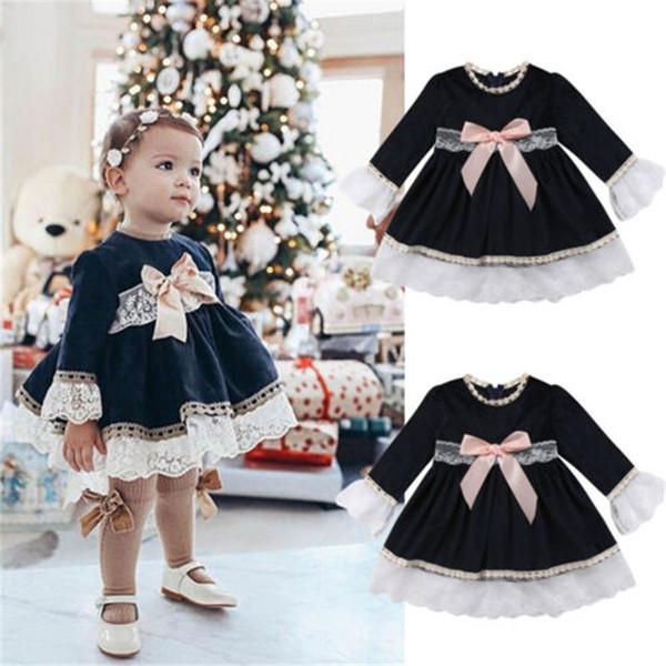 Yeni Prenses Dantel Elbise Bebek Çocuk Kız Dantel Uzun Kollu Elbise Parti Düğün Pageant Kızlar Ilmek Donanma Elbiseler 2-6 T