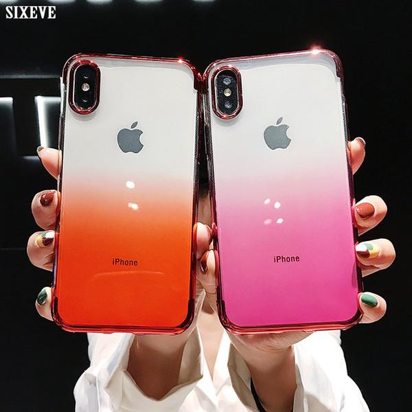 Caso de silicone macio de luxo para iphone xs max xr x 10 ipone 6 s 6 s 8 7 plus 6 plus 6 splus 7 plus 8 plus 8 plus celular gradiente tampa traseira