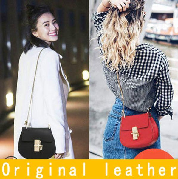Mulheres de marcas famosas de couro genuíno-alça de cadeia saco de couro real crossbody bag vaca bolsa de ombro de couro frete grátis