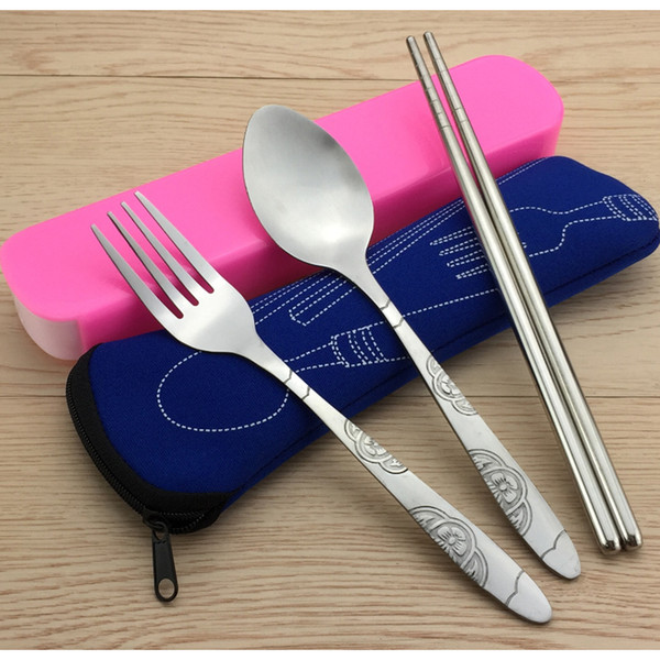 3pcs/set Outdoor Picnic Portable Tableware Camping Stainless Steel Sport Fork Spoon Chopsticks For Hiking Survival Travle