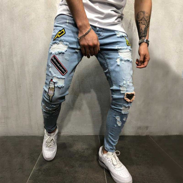 Male badge embroidery Knee holes Hip Hop Ripped Skinny biker Jeans Men streetwear Destroyed Patch Stretch denim Joggers pants