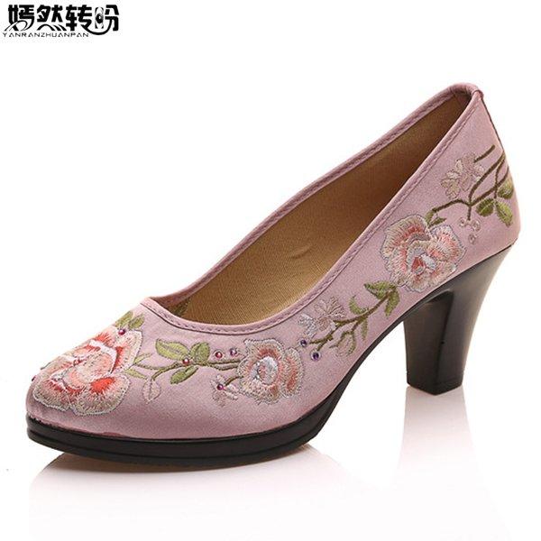 Mulheres Bombas de Cetim Chinês Floral Bordado Chunk Salto Médio Senhoras Elegantes Dedo Do Pé Redondo Retro Zapatos Mujer Sapatos Para Cheongsam