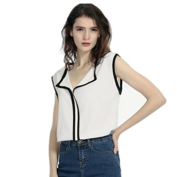 Blusas de gasa de mujer de verano 2019 remiendo del estilo coreano Tops Camisas de gasa Elegante Office Lady Turn Down Collar Blusa