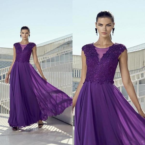 4e1ffe392f494 Zarif Lavanta Şifon Anne Gelin Elbiseler Bir Çizgi Uzun Düğün Konuk Elbise  Dantel Custom Made Örgün