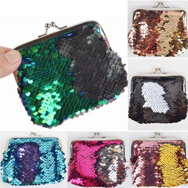 Small Sequin Coin Pocket Mermaid Magic Sequin Little Girls Purse Mini Wallets Clutch Handbag New Fashion Evening Clutch Bag
