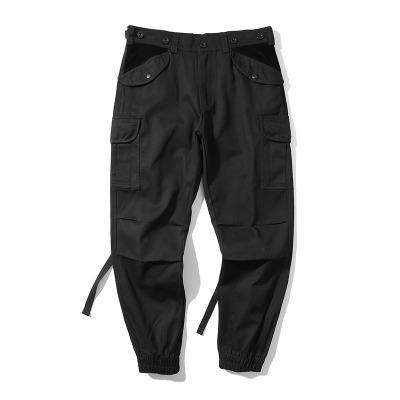Steampunk Erkekler kamuflaj Siyah Pantolon Kişilik erkek Uzun Pantolon gevşek Moda Pantolon