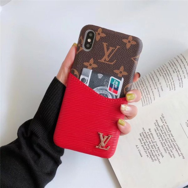 For iPjone 11 Pro Max Monogram Hybrid Designe Phone Case For Iphone XS Max/XR 8/7Plus With Card Slot For Samsung S8/9/10 note 8/9/10 Cover