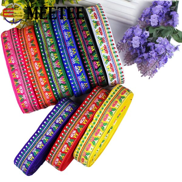 Meetee 28mm National Clothing Accessories Trims Jacquard Lace Webbing DIY Manual Sewing Decoration Ribbon RC020