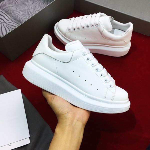 nouvelle mode Luxe hommes cuir femmes chaussures de sport des femmes des hommes chaussures de sport de marque blanche noire plate-forme xsd19050902