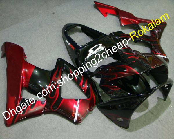 Accesorios de motocicleta para Honda CBR900RR CBR 900RR 2000 2001 CBR 900RR 929 00 01 Rojo Flames Juego de carenado de motocicleta negro (moldeo por inyección)