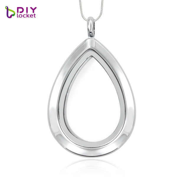 silver necklace 5pcs/lot Wholesale Water droplets silver floating locket pendant necklace (chains included for free) glass locket LSFL04...