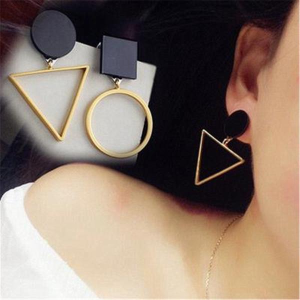 Vintage Circle Irregular Geometric Triangular Earrings Bohemian Circular Women Long Tassel Hollow Geometric Stud Earring Jewelry Accessories