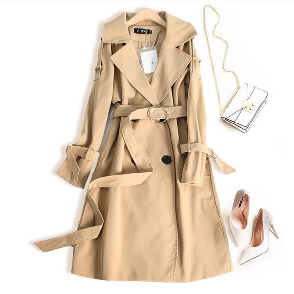 khaki Trench Coat Casual women's long Outerwear loose clothes for lady with belt spring autumn fashion high quality black beige