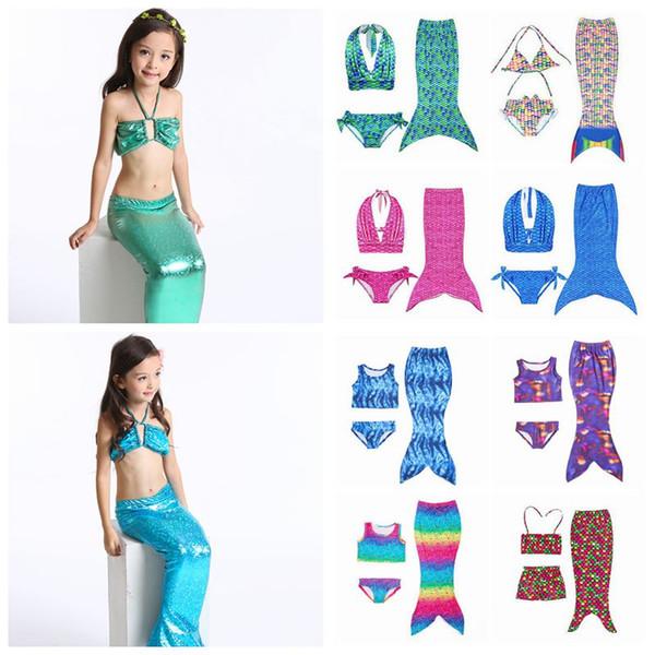 25 Stili Kids Mermaid Swimwear Neonate Mermaid Swimsuits Bambini Mermaid Bikini Beach Abbigliamento 3 pz / set CCA11596 20 set