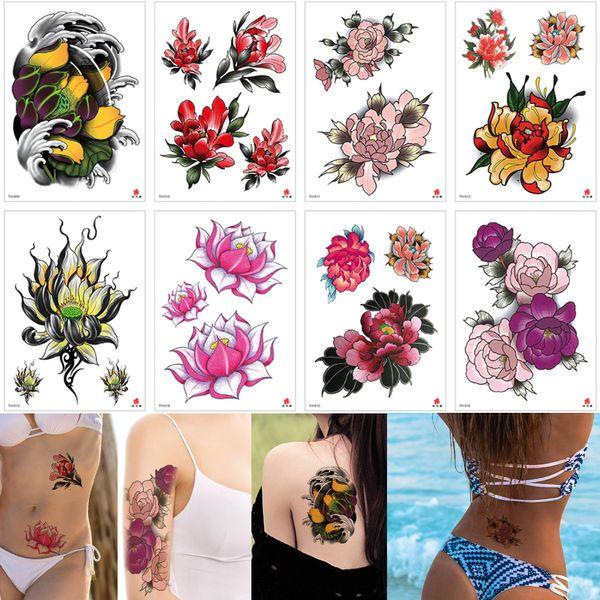 Kleine Blume Tattoo farbige Zeichnung wasserdicht temporäre Designs Lotus Blume Pfingstrose Aufkleber Arm zurück Hände für Frau Mädchen Tattoo Aufkleber Geschenk