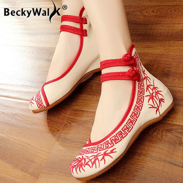modelos Senhora bambu série azul e branco porcelana estilo chinês tinta literatos bordados pano sapatos das mulheres sapatos WSH2296