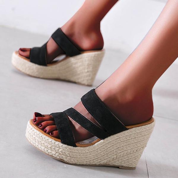 Moda de verano Tacones altos Sandalias de cuña de pendiente Confort al aire libre Fiesta Zapatos casuales Soporte al por mayor y Dropship