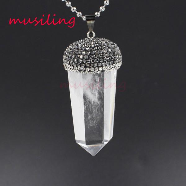 Crystal Pillar Pendants Reiki Pendulum Jewelry Charms Bohemian Healing Chakra Wicca Witch Amulet Fashion Jewelry Wholesale 10ps