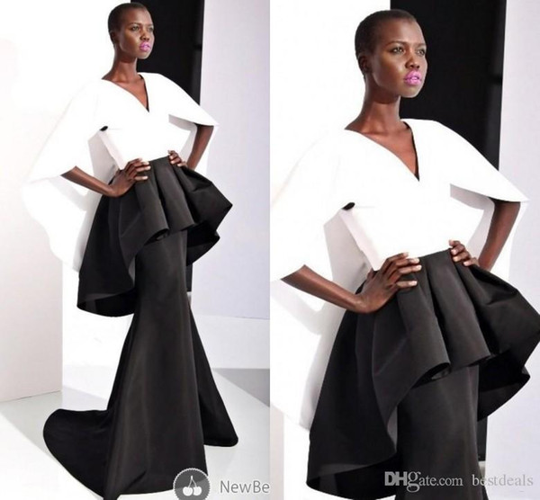 2019 New Black and White Formal Evening Dresses Mermaid Satin Cap Sleeve Peplum V Neck Miss USA Pageant Celebrity Dress Custom Made