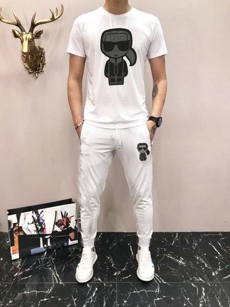 2019 Männer Klage-Frühlings-neue Anzug Männliche Mode Printing Fat plus Größen-beiläufige zweiteilige Männer Langarmshirt Trainingsanzüge Hosen D63