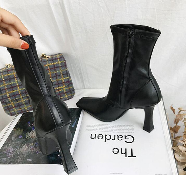 Women Martin boots Classic original velvet ins Fashion Brand sexy ladies Horseshoe with side zip stitching High heel booties
