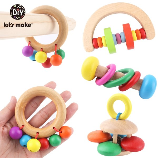 Let'S Make Wooden Teether Toys For Infants Baby Montessori Colorful Musical Toddler Toy Bedding Crib Baby Rattle Wood