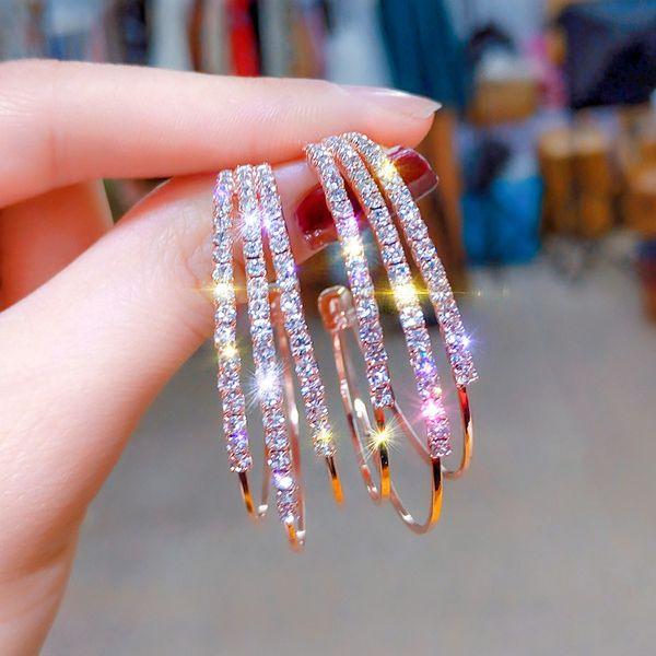 best selling Rhinestone 925 Silver Hoop Earrings Circle Earrings Korean Versatile Female Fashion Simple Big Circle Gold Color Loop Earrings Women Ladies