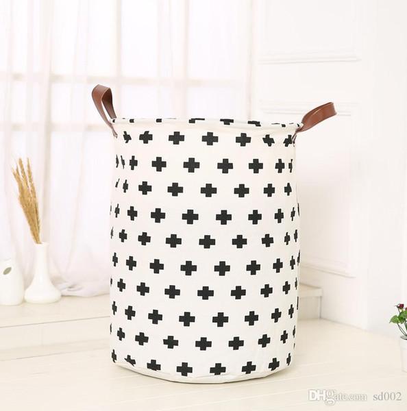Игрушки ведро для хранения детская комната хранения одежды корзина INS горячие продажи ручка холст простой черный белый украшения дома 13lyC1