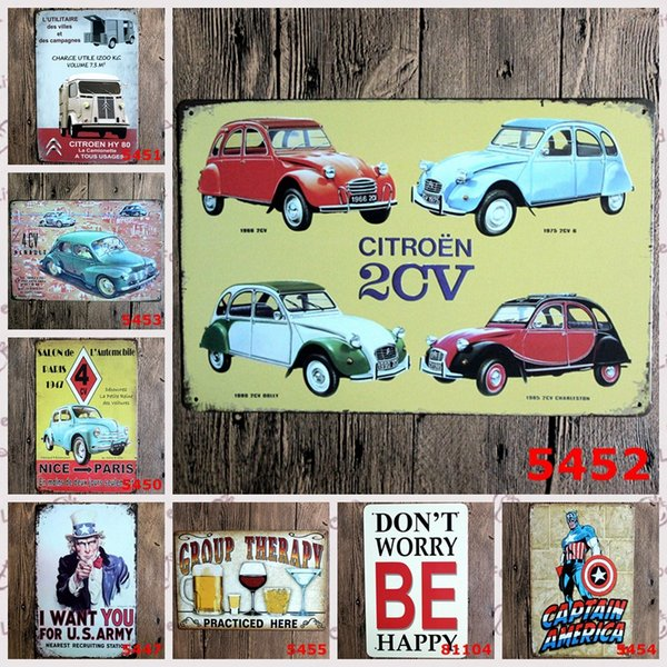 Creative American Style Popular Cars TIN SIGN Wall Metal Painting ART Decor Uncle Sam Fashion Shop Bar Decoration Background