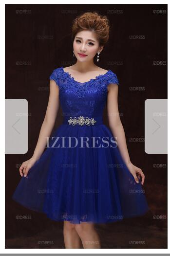 A-Line/Princess Scoop Knee-length Tulle Prom DressW48