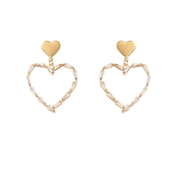b3b3a82ad South Korea S925 pure silver needle earrings female temperament simple  diamond love pierced earrings personality Joker