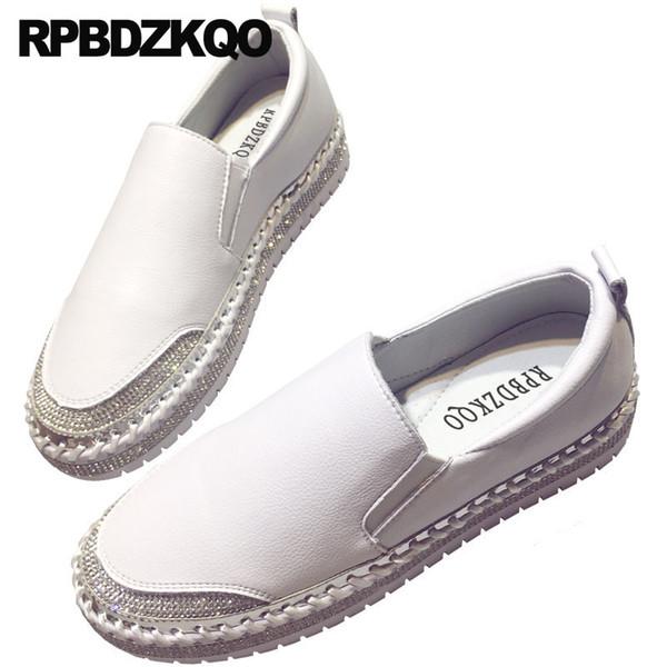Plataforma de diamantes zapatillas de deporte zapatillas de deporte de diamantes de imitación blanco damas hermosos zapatos de las mujeres enredaderas de cristal negro italiano personalizado